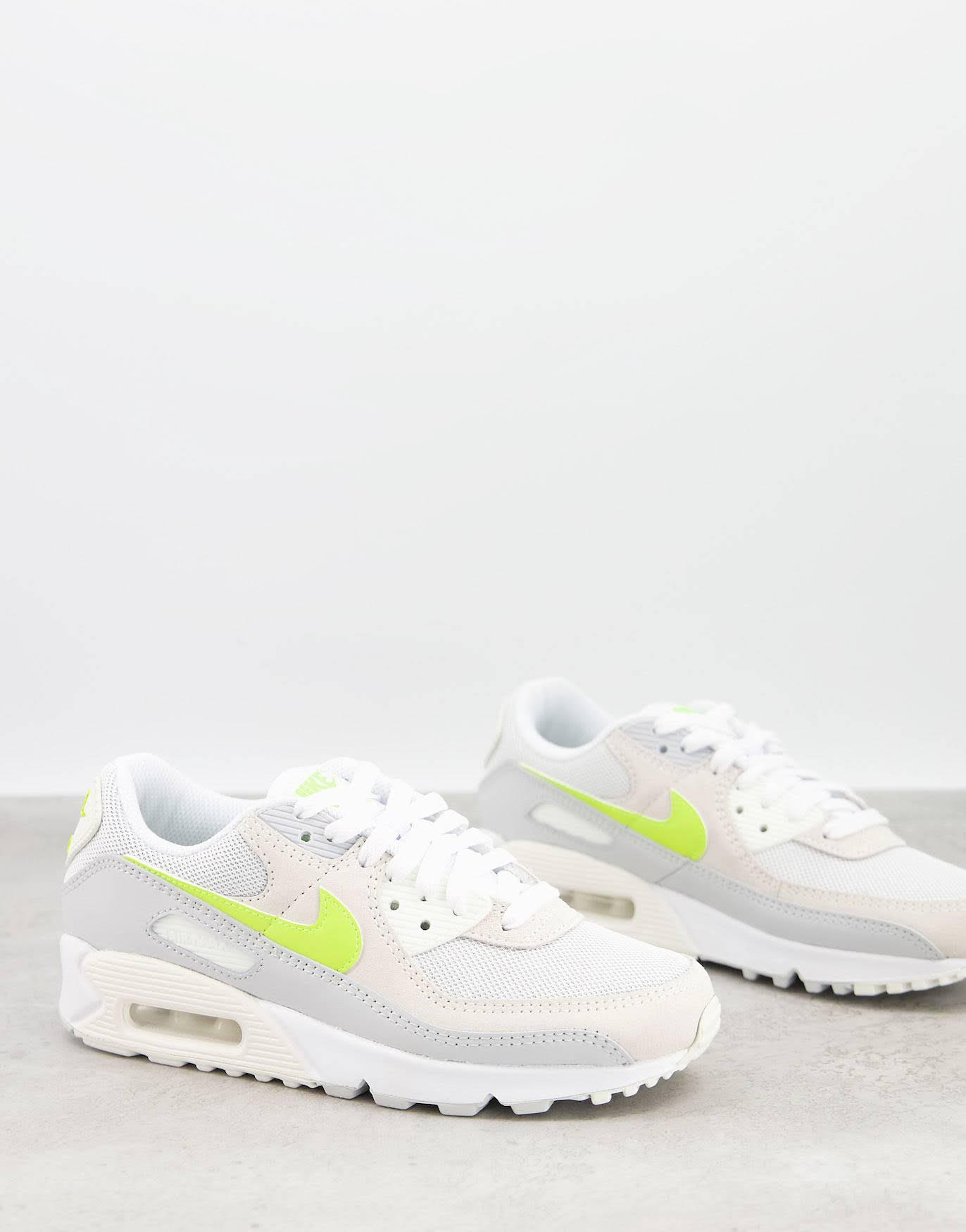 Zapatillas blancas y limón pastel Air Max 90 de Nike