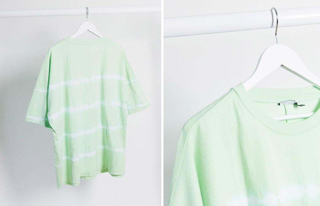Camiseta extragrande a rayas en teñido anudado