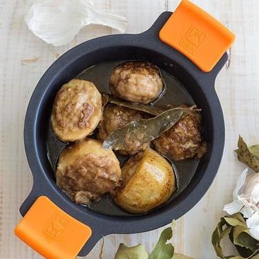 Albóndigas con patatas rellenas. Receta