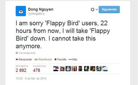 Creador de Flappy Bird va a retirar el juego