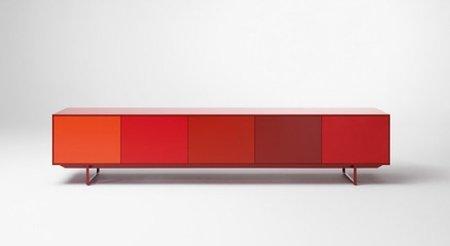 mueble almacenaje rojo