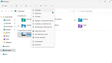 Opciones De Disco Explorador De Windows 11