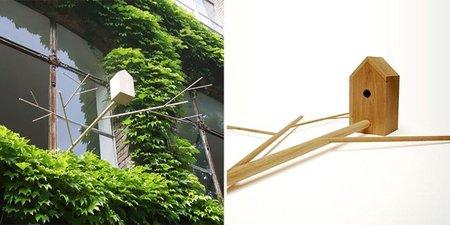 Casa para pájaros con rama incorporada