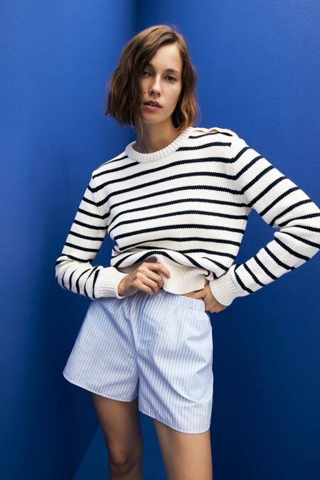 Zara Jersey Basico Rayas Marineras 01