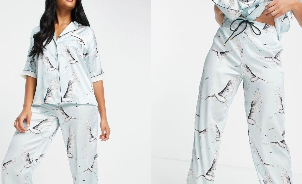 Camisa de pijama azul con estampado de pájaros de satén de River Island (parte de un conjunto)