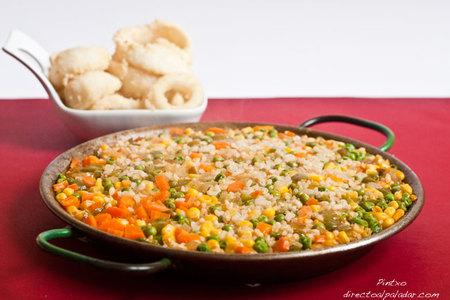 Paella de verduras para peques. Receta