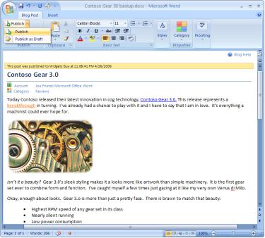 Word 2007 permitirá publicar en tu blog