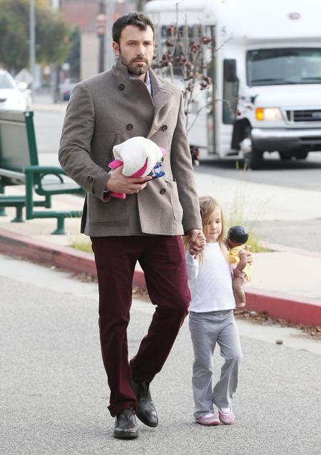 Ben Affleck burgundy pants