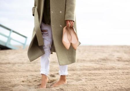 Aimee Song Green Oversized Jacket Ballet Flats