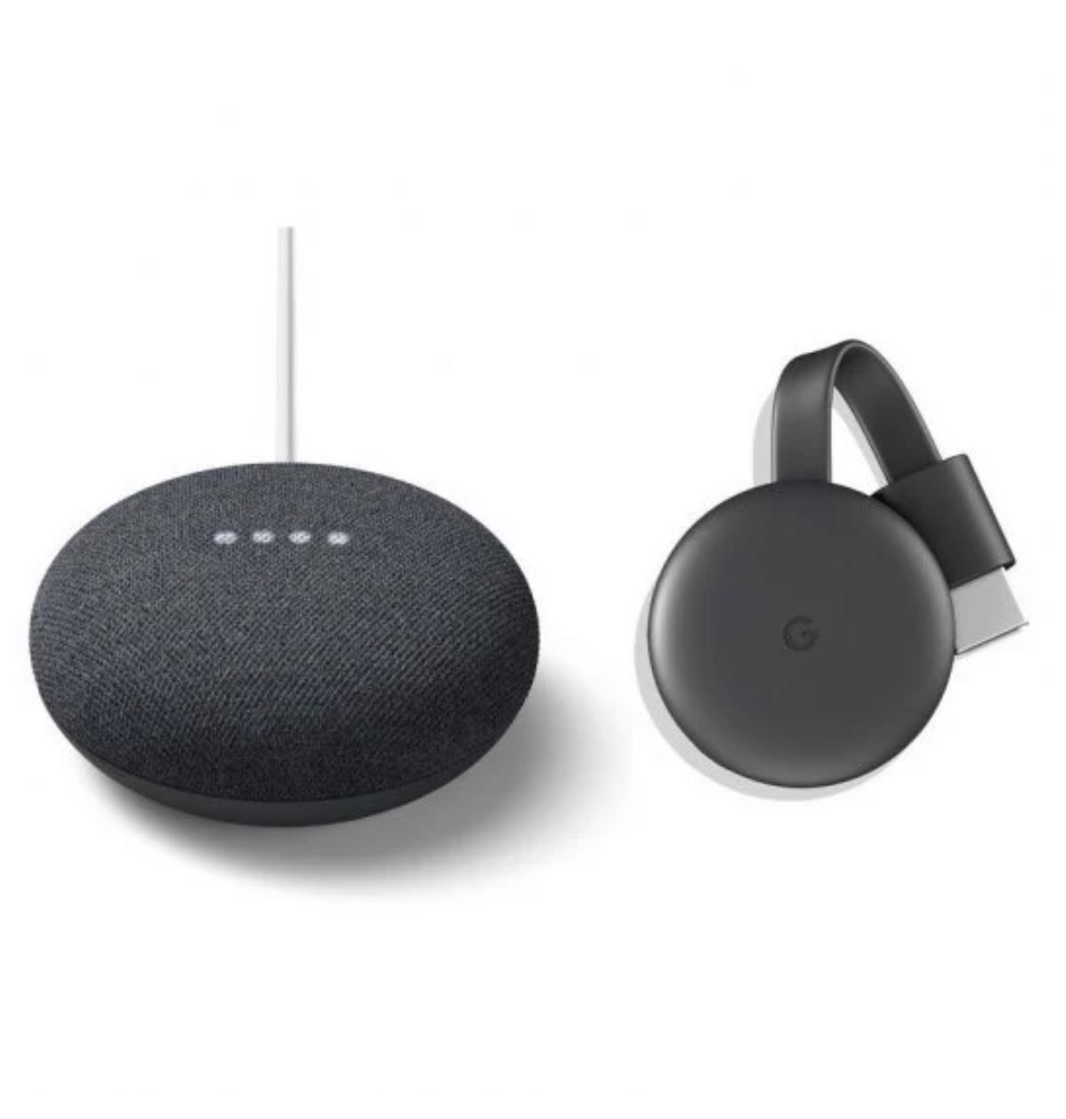 Google Pack Nest Mini Altavoz Inteligente y Asistente Carbón + Chromecast 3