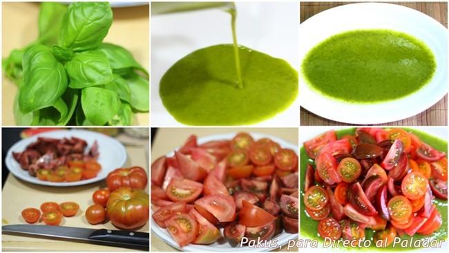 ensalada tomates y albahaca paso a paso