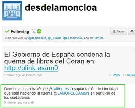 "El ""falso"" twitter de La Moncloa se limita a ofrecer información gubernamental"