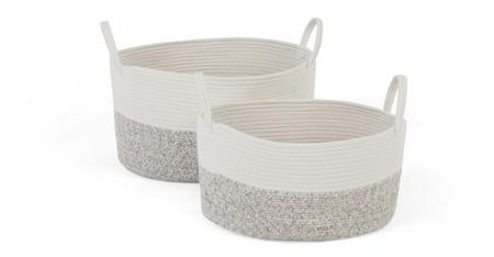 Juego de 2 cestas con asas Toro, blanco & gris