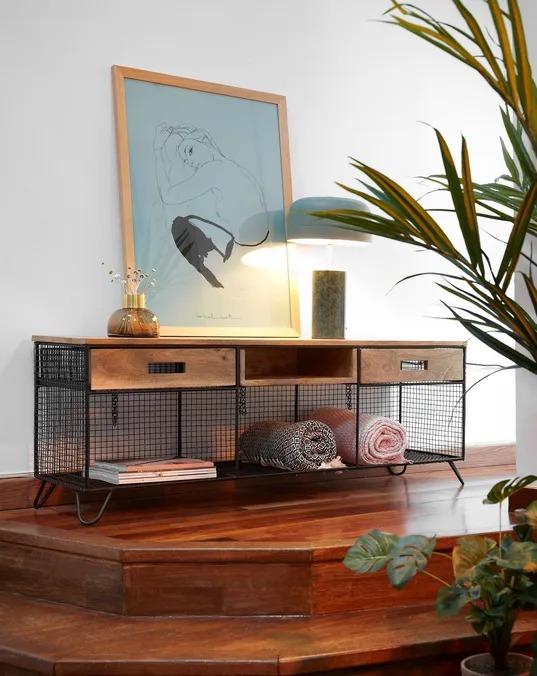 Mueble TV Aida madera maciza de mango y acero 120, 5 x 46 cm