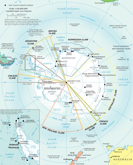 Mapa que visualiza los reclamos activos hoy en día sobre el territorio antártico.