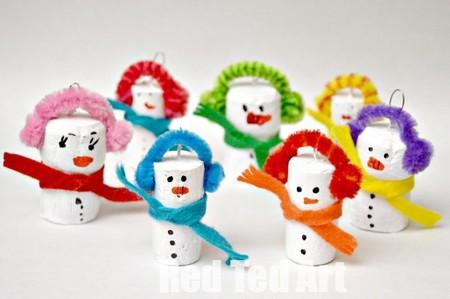 Manualidades Invierno Munecos Nieve Corcho