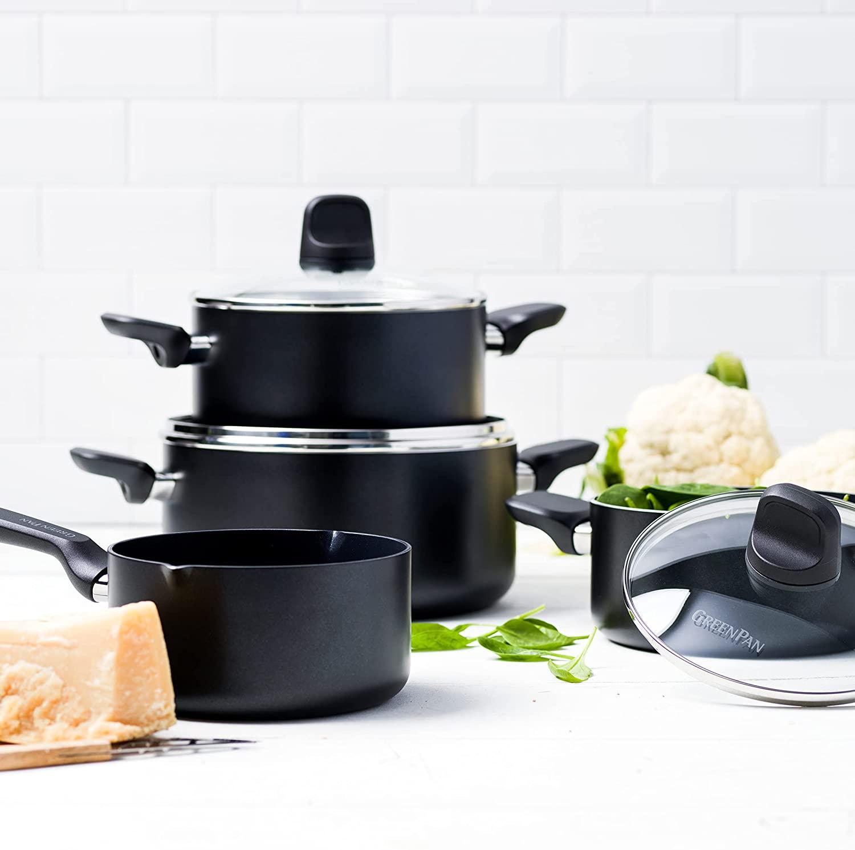 GreenPan Batería de Cocina Antiadherente de Aluminio con Revestimiento de Cerámica, Apta para Todo Tipo de Cocinas, Inducción, Horno y Lavavajillas, 4 piezas, Negro