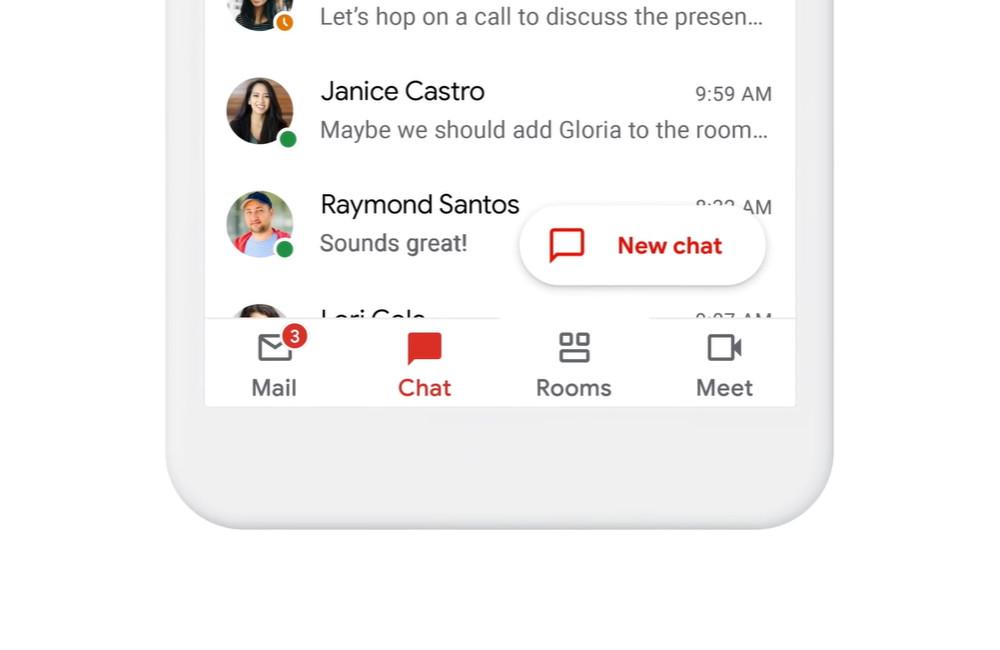 Google confirma que el mas reciente Gmail con Chat, Rooms y Meet es, de momento, para usuarios G Suite