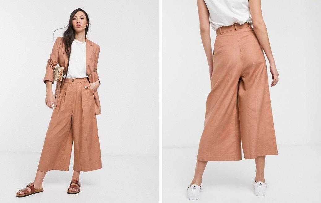 Pantalones culotte de lino