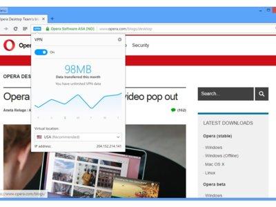 Opera incluye en su última versión un VPN integrado en el navegador