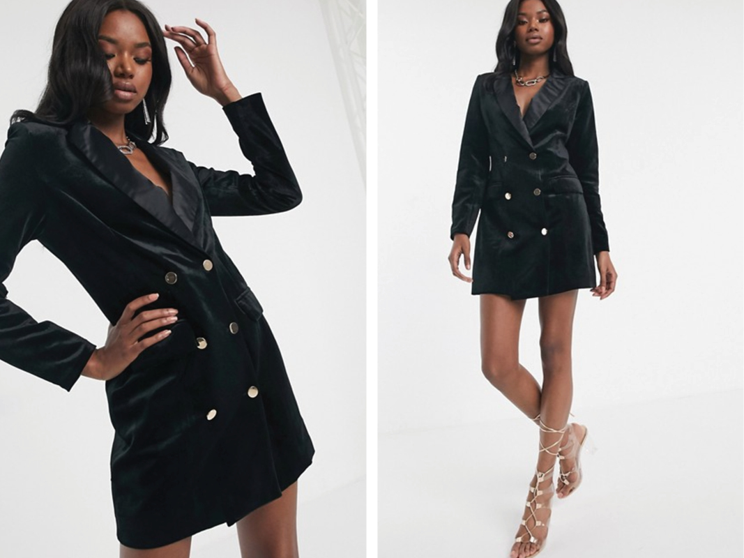 Vestido estilo esmoquin de terciopelo en negro de Missguided