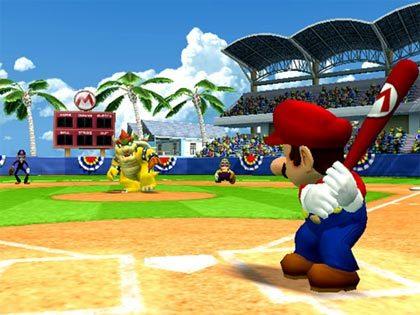 Mario juega al béisbol en la Wii