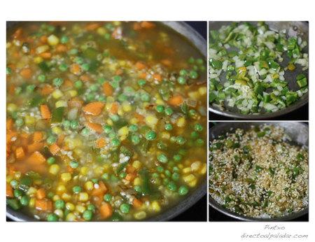 Paella de verduras. Pasos