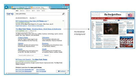 Bing introduce pre-render en IE11: carga los principales resultados en segundo plano