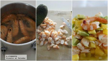 Tartar de langostinos, mango y aguacate
