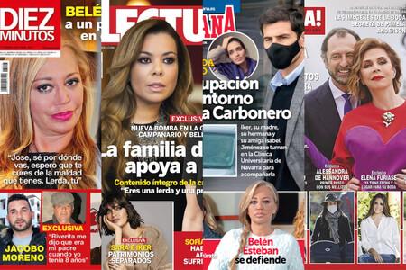 Los Janeiro apoyan a Belén Esteban, Sara Carbonero recae en el cáncer y Ágatha Ruiz de la Prada posa con su churri: estas son las portadas del miércoles 10 de febrero