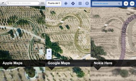Vista satélite de los mapas de Apple, Google y Nokia