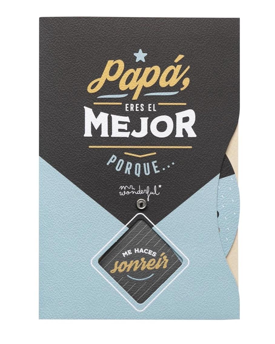 MR.WONDERFUL Postal con Rueda Giratoria de Mensajes y Diseño Mr. Wonderful: papá, eres el mejor...