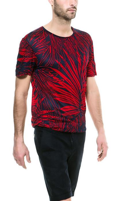 camiseta palmeras rojas zara