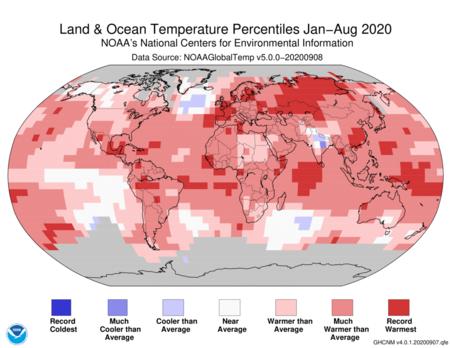 Land And Ocean Temperature Percentiles Jan Aug 2020