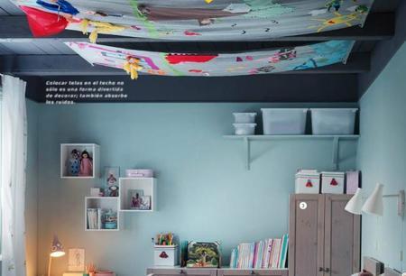Una buena idea: decorar con telas el techo de la habitación infantil