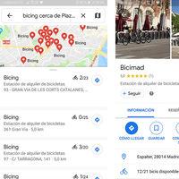 Google Maps ofrece ahora información en tiempo real sobre las estaciones de bici de alquiler de Madrid y Barcelona