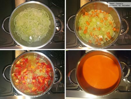 Preparacion Sopa Fria Pimientos