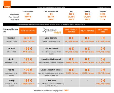 Precios Huawei Mate 20 Con Pago A Plazos Y Tarifas Orange
