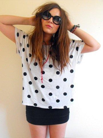 Lunares moda look calle: top