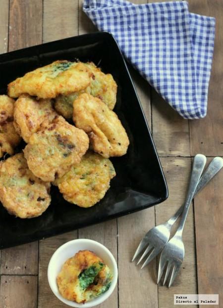 Buñuelos de puré de patata rellenos de espinacas: receta de guarnición