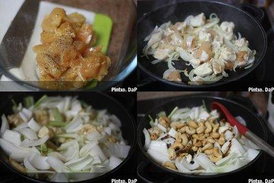 Salteado de pollo frito con anacardos. Receta