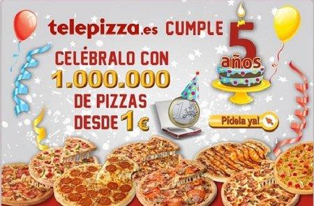 Telepizza celebra el cumpleaños de su web con 1 millón de pizzas 'desde' 1 euro hasta fin de existencias