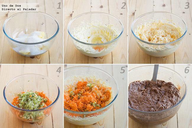 Receta de bizcochitos de calabacín, zanahoria, patata y calabaza paso a paso