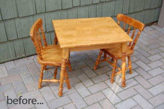 mesa y sillas antes