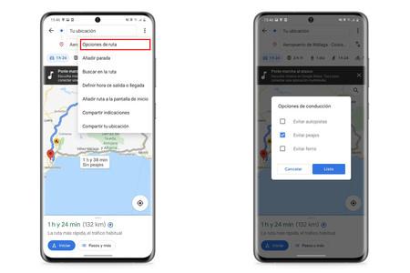 Opções De Rota no Google Maps
