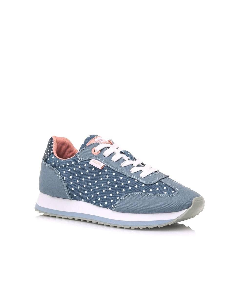 Zapatillas deportivas de mujer Mustang en color azul y topos blancos
