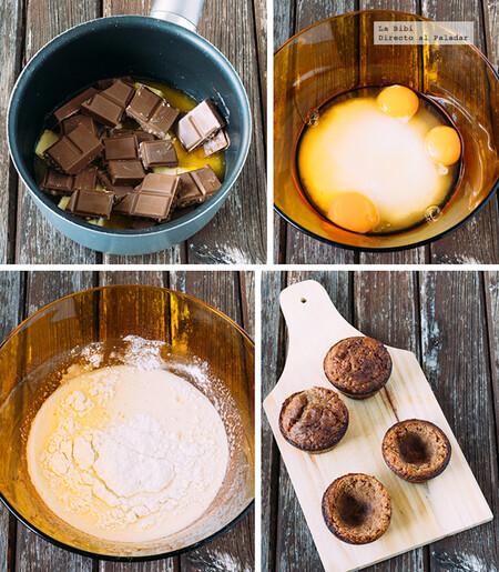 Cazuelitas de muffins de chocolate con helado de vainilla. Receta fácil