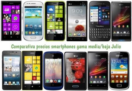 Comparativa Precios Smartphones más baratos Julio 2013