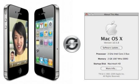 El iPhone 4 necesita como mínimo Mac OS X 10.5.8 para poder sincronizar