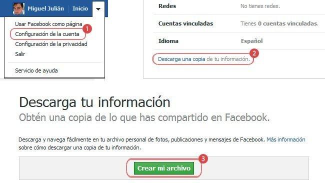 Cómo descargar tus datos almacenados en Facebook